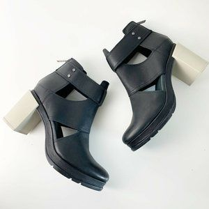 Sorel Margo Cut Out Black Chunky Heel Booties